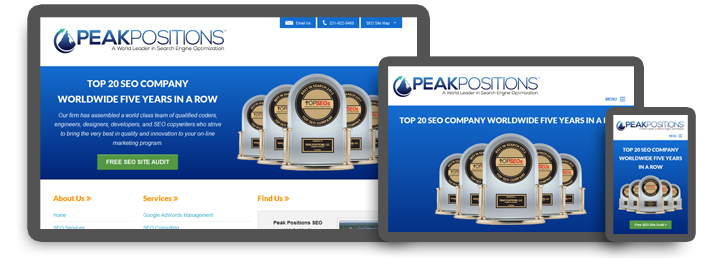 Website Design. Peak Positions SEO Provides Custom Website Design Services. Professional Website Design Services Company Specializes in Responsive Website Design RWD Mobile First Responsive Web Design Solutions.